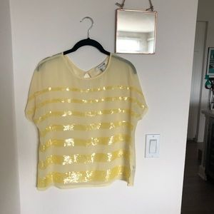 F21 pale yellow sheer sequined blouse